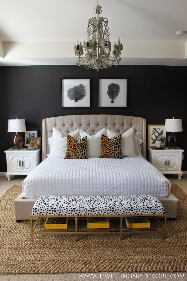 stunning bedroom with black walls, leopard accents, gold, black and white! SWOON!