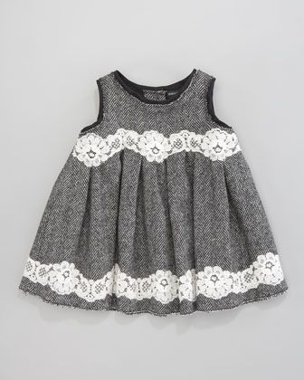 Dolce & Gabbana Herringbone Lace-Trim Dress - Neiman Marcus