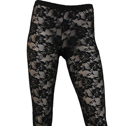 Full Lace, gothic fantasy metal kanten legging zwart