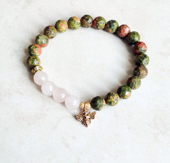 Fertility Bracelet featuring Unakite and Rose Quartz by InnerFireJewelry Buy now and save 10% with coupon code PIN10 #innerfirejewelry #fertility #fertilitybracelet