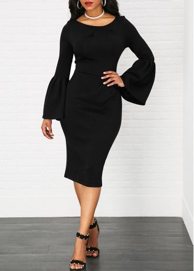 Black Long Sleeve Bell Sleeve Bodycon Midi Dress
