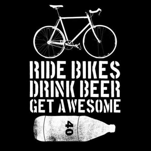 "Etsy shop with stickers and shirts... ""Ride Bikes Drink Beer Get Awesome"""