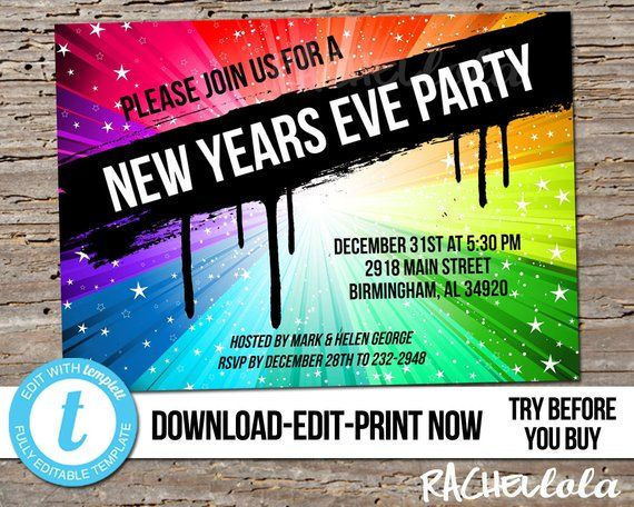 Editable New Years Eve Party Invitation Template Bright Etsy New Years Eve Invitations Party Invite Template New Years Eve Party