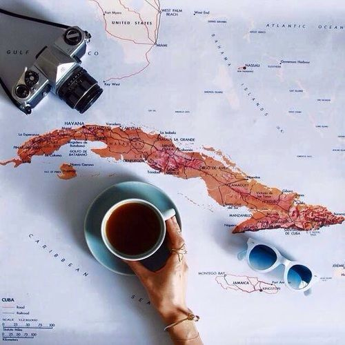 Imagen de coffee travel and map #sunglasses