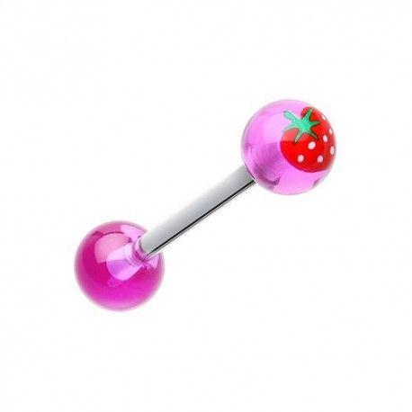 Piercing Langue Titane fraise https://piercing-pure.fr/p/126-piercing-langue-titane-fraise.html #fraise #piercing #bijou