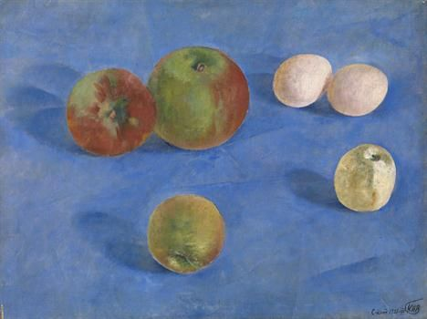 """* PETROV-VODKIN, KUZMA (1878-1939) Still Life. Apples and Eggs , signed with a monogram, inscribed in Cyrillic """"S-kand"""" and dated """"1921-VII"""". Oil on canvas, 35.5 by 47 cm."""