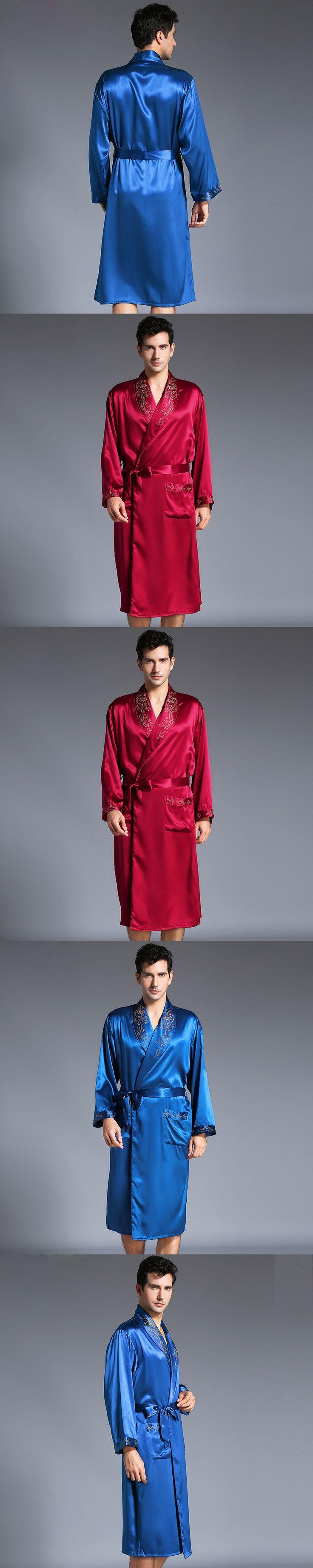 New Male Robe Autumn Men Long-Sleeve Kimono Sleepwear 22 Momme Heavy Silk Bathrobe Men Sleepwear Men's Silk Robe Free Shipping