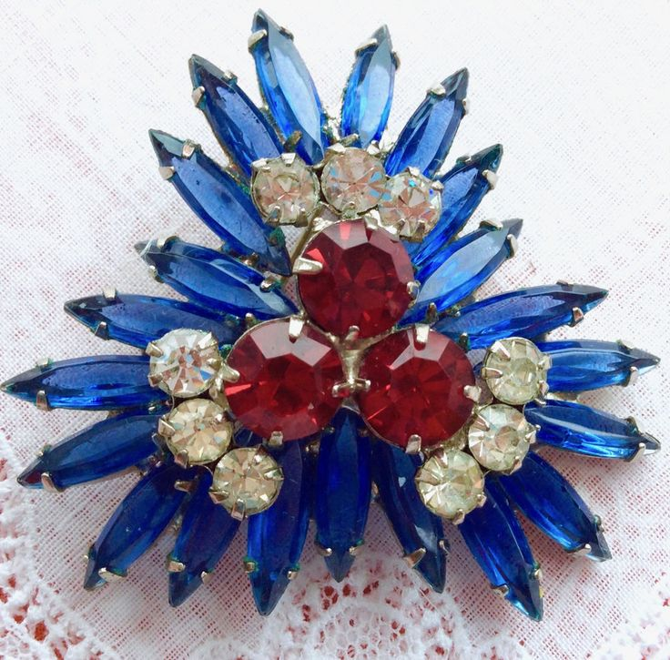 Verified D&E JULIANA Brooch PIN Red Clear Rhinestone Blue Skinny Navettes EVC! #VerifiedDEJULIANA