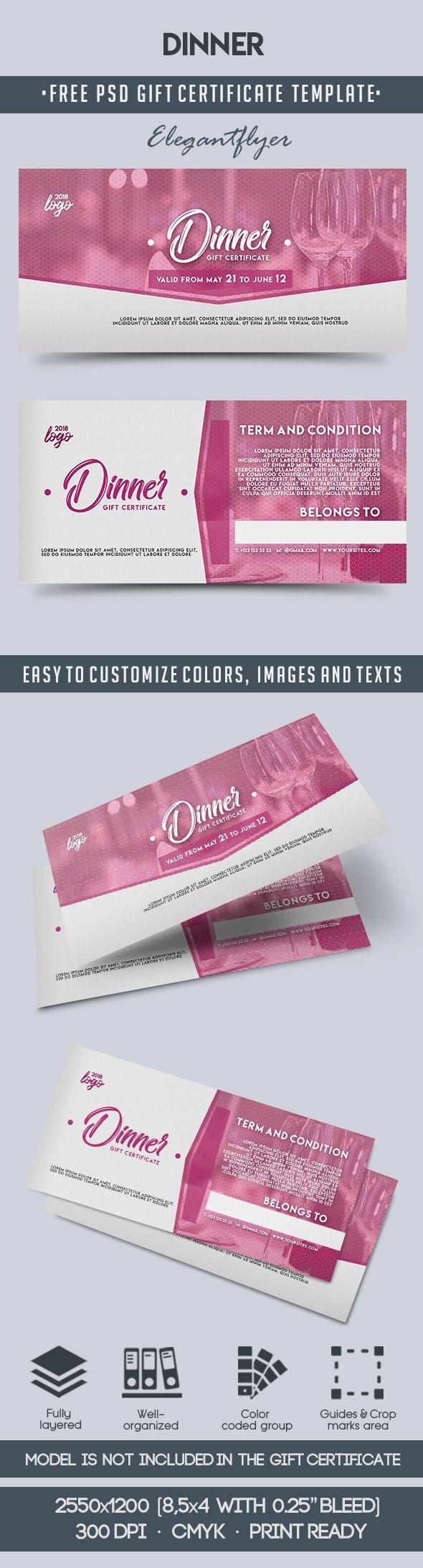 Free gift certificate templates 66 pinterest free dinner invitation templates for gift voucher yelopaper Choice Image
