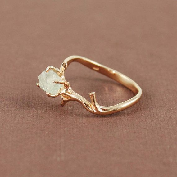 ink Gold Rough Green Amethyst Ring