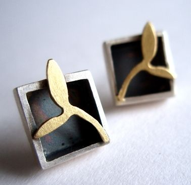 Square box earrings | Contemporary Earrings by contemporary jewellery designer Kate Smith