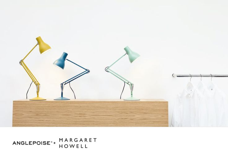 ANGLEPOISE + MARGARET HOWELL Type 75 desk lamp available in Saxon Blue, Seagrass and Yellow Ochre in our shops and online.