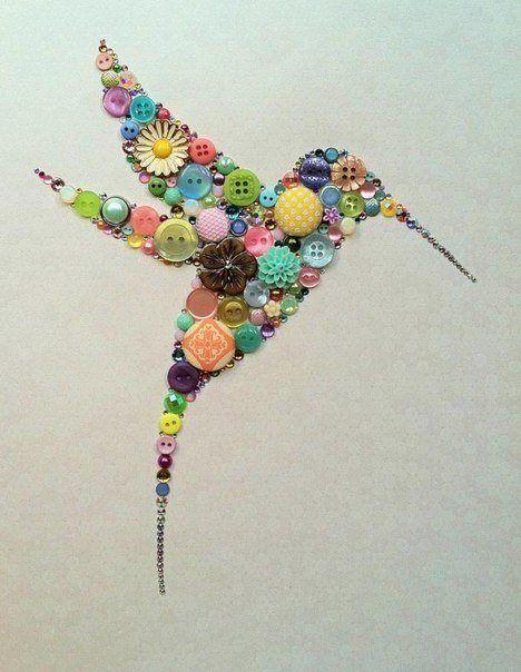 Button Art Swarovski Rhinestone Art Hummingbird Art by BellePapiers on etsy.