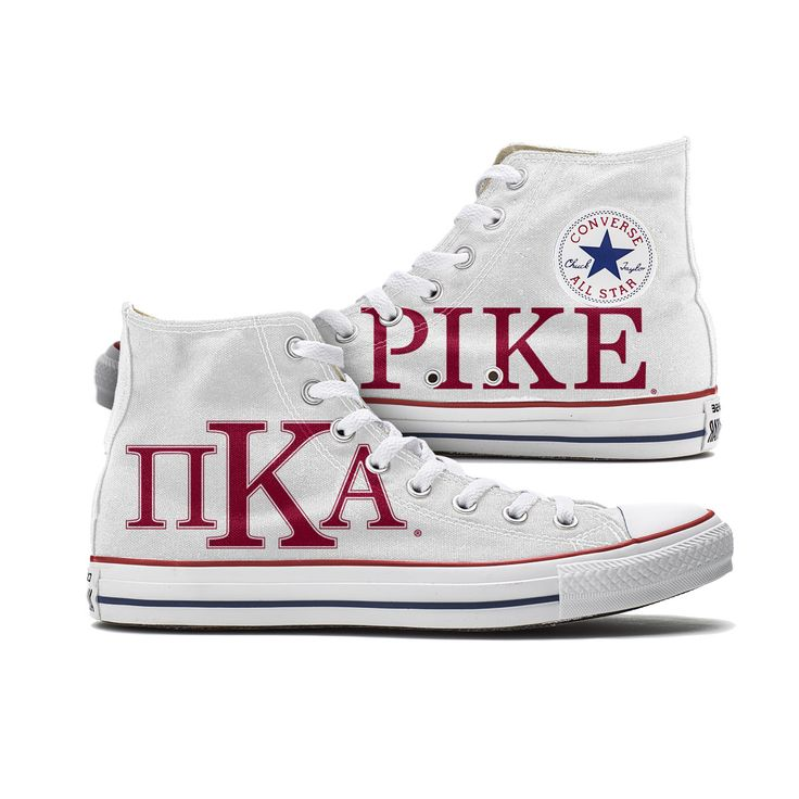Pi Kappa Alpha Converse Pike High Tops - This pair of classic Converse sneakers features the Pi Kappa Alpha letters proudly displayed on the outside canvas and PIKE written on the inside panels. These