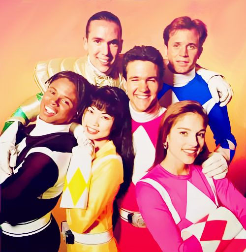 Power Rangers the original cast-I was always the pink one, my brother was always the blue one