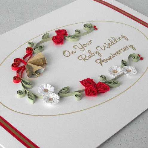 ... Anniversary Card on Pinterest Ruby anniversary, Quilling and Wedding