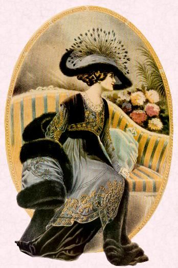 Edwardian Hat. Martial & Armand Creation depicting the perfectly groomed directoire styled woman of 1912.