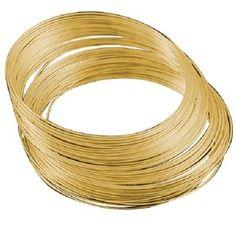 Lot 100 tours fil à mémoire de forme 17 cm métal doré or pour bracelets