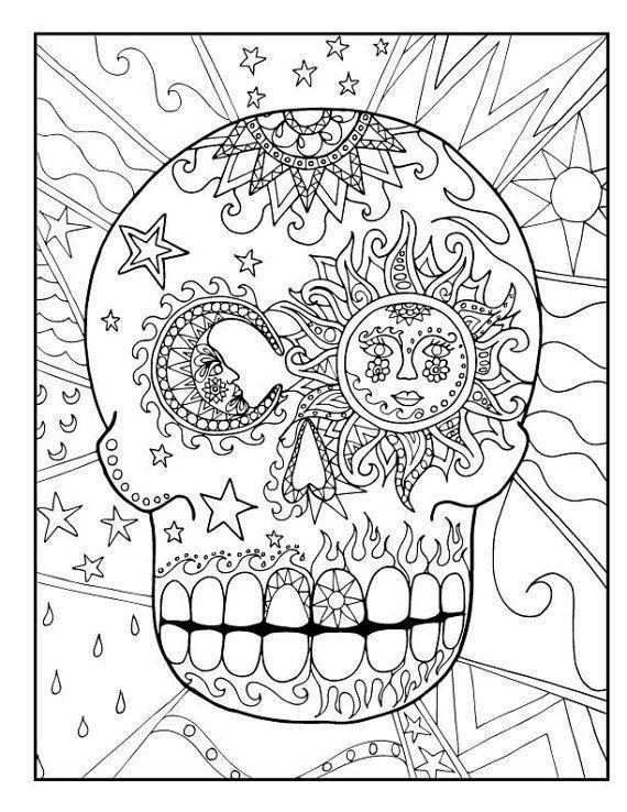 Dia De Los Muertos Tag Des Toten Zuckerschadels Malvorlagen Download Paket Coloring Pages Coloring Des Dia Downloadpaket Los Malvo Cizimler Terapi