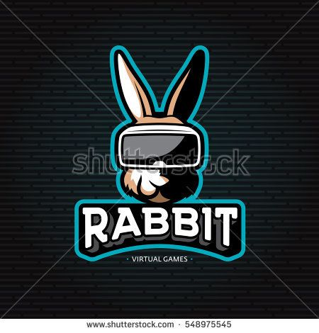 Vector rabbit virtual reality games logo. Electronic 3d glasses headset illustration with animal. Colorful VR device label for cyber sport. Head mounted display emblem. Team mascot gaming design