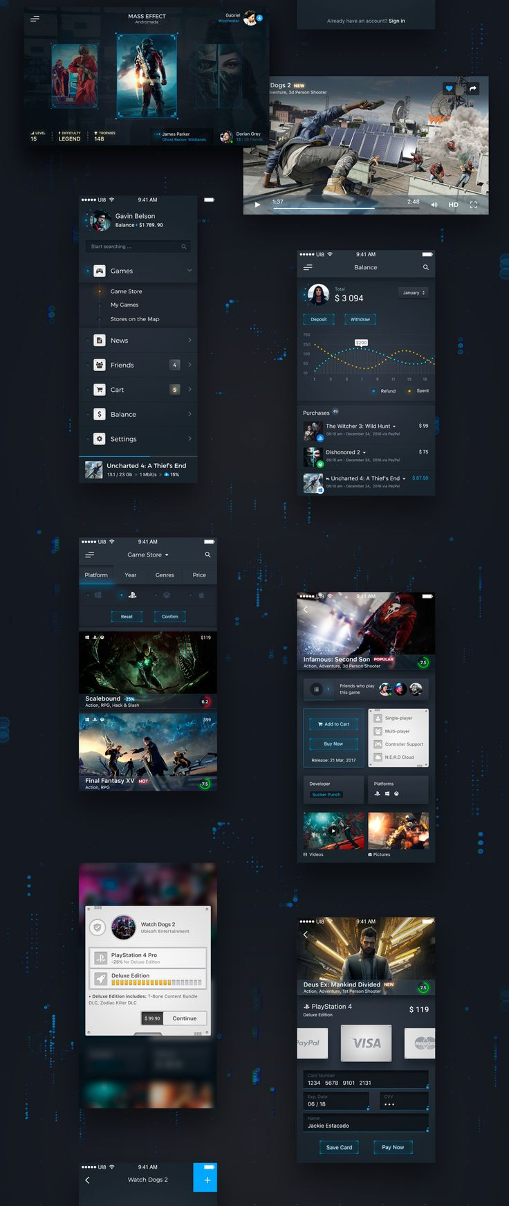 Unique, futuristic and modern new UI Kit designed for iOS. NERD includes 16 iPhone 6 screen templates designed in Photoshop. Absolutely 100% vector shapes for retina allow for easy resizing.