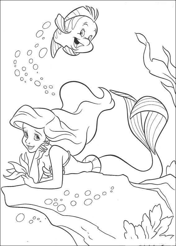 Den Lille Havfrue Fargelegging for barn. Tegninger for utskrift og fargelegging nº 7