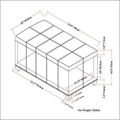 Amelia Storage Ottoman Bench - Stone Gray - Simpli Home, Stone Grey