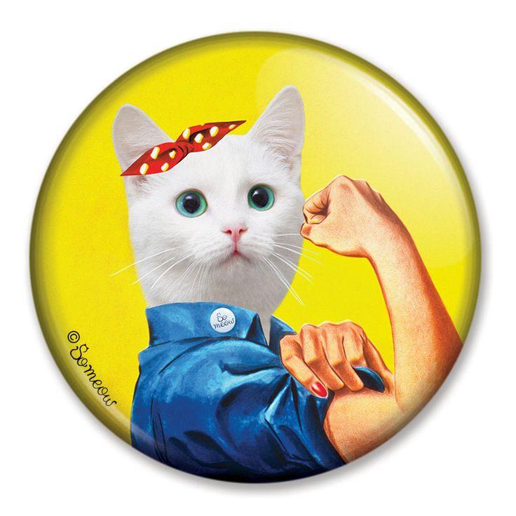 Aimant de chat pour réfrigérateur ou casier You Can Do It Girl! Aimant de frigo pour filles avec la fibre féministe qui aiment les chats de la boutique SoMeowArt sur Etsy