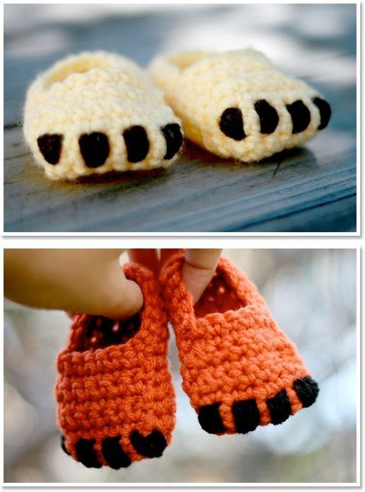 Handmade Crocheted Lion and Fox Paw Baby Booties.