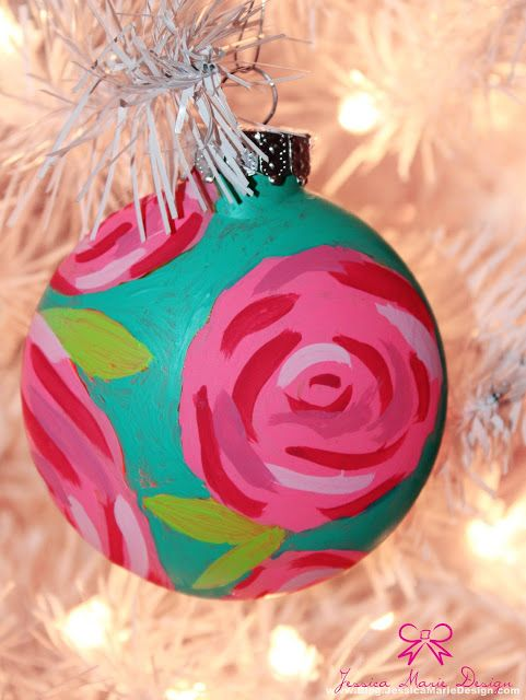 .looks like Lilly Pulitzer...  inspired DIY  painted ornaments