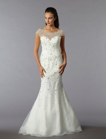 Bridal Gowns: Sophia Moncelli Mermaid Wedding Dress with Illusion Neckline and No Waist/Princess Seams Waistline