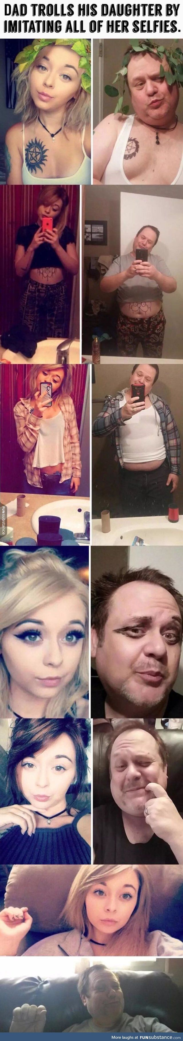 Dad imitates daughter's selfies