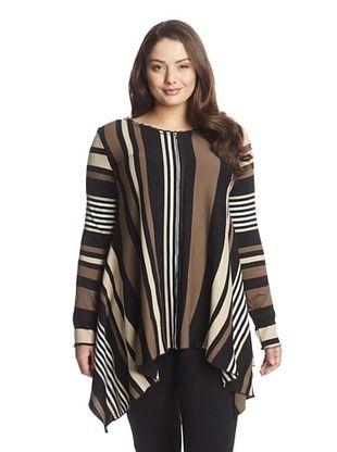 65% OFF Lola & Sophie Plus Women's Striped Sweater (Black)