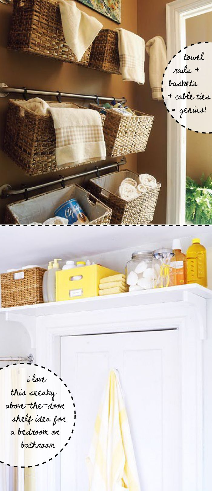 storage bathroom storage: The Doors, Good Ideas, Small Bathroom, Bathroom Storage, Shelves, Laundry Rooms, Baskets, Small Spaces, Storage Ideas