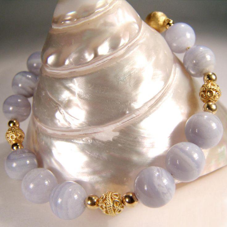 Armband mit Chalzedon und Silber vergoldet | Perlotte Schmuck