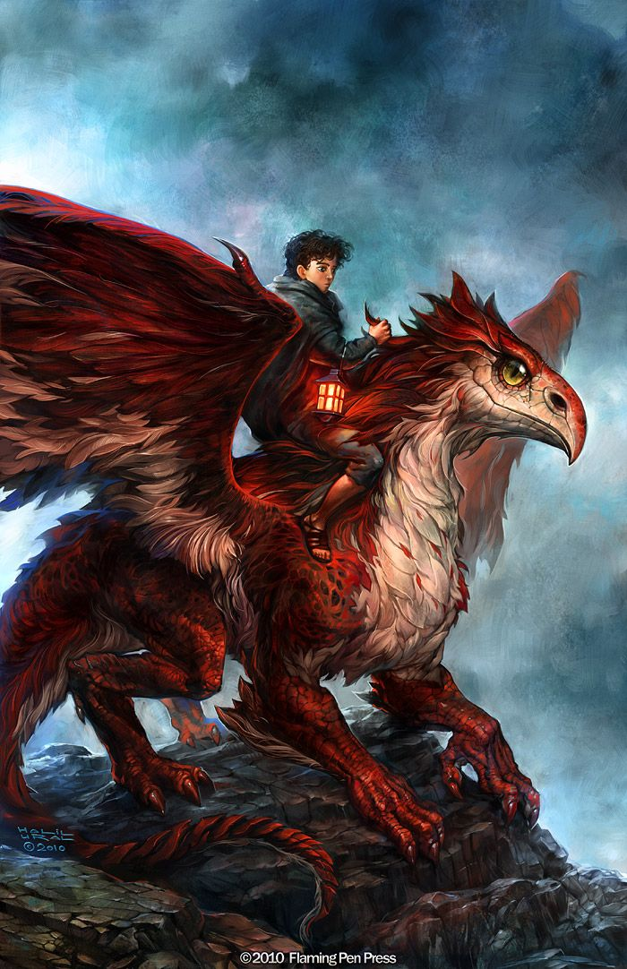 Griffin with red and white feathers. (Kestrels Midnight Song by *MrDream on deviantART.)