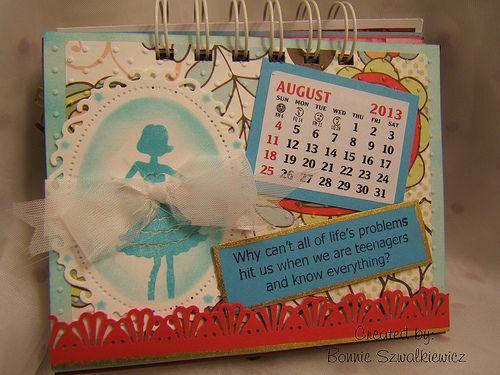 2013-08-01 August Calendar Page by Bonnie | The Craftiblog