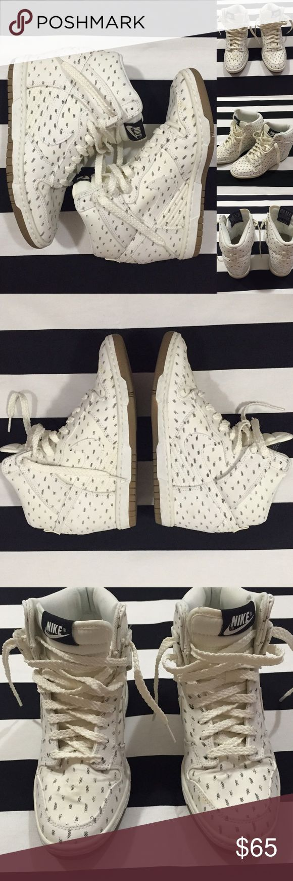 [Nike] Dunk Sky Hi women's wedge sneakers sz7.5 [Nike] Dunk Sky Hi women's wedge sneakers sz7.5 •🆕listing •good used condition •ivory/off white with black speckle pattern •wedge sneaker •shoes have been cleaned •insides very clean •outside has some color changes- some yellowing to color, small dark area to tongue on L shoe and some slight bubbling to toe area on R shoe (shown in picture), overall good condition- just mentioning subtle signs •Offers welcomed using offer button or Bundle for…