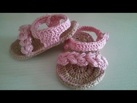 scarpine espadrillas per neonato all'uncinetto tutorial - YouTube