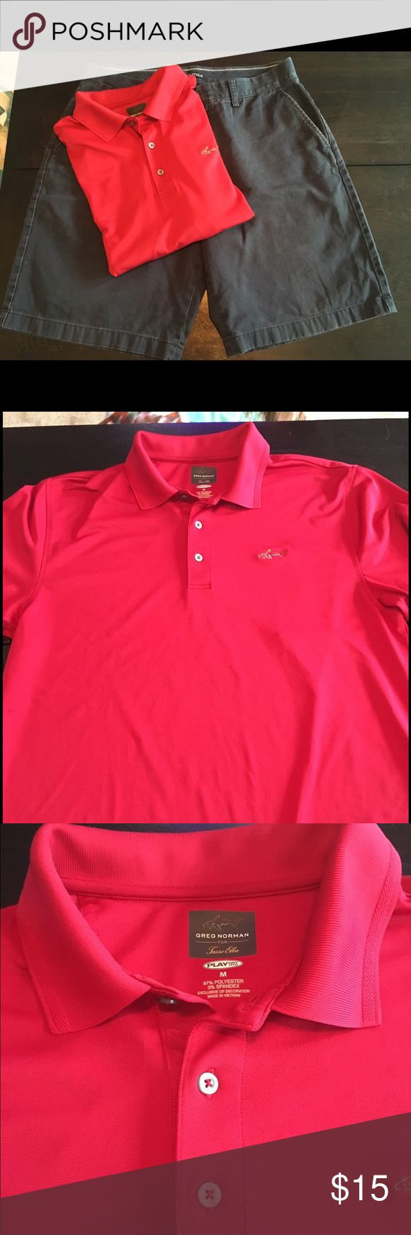 Greg Norman golf shirt Red Greg Norman golf shirt greg norman Shirts Polos