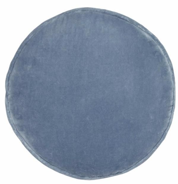 Velvet penny round cushion - dusty blue #Baby #blue #blue-cushion