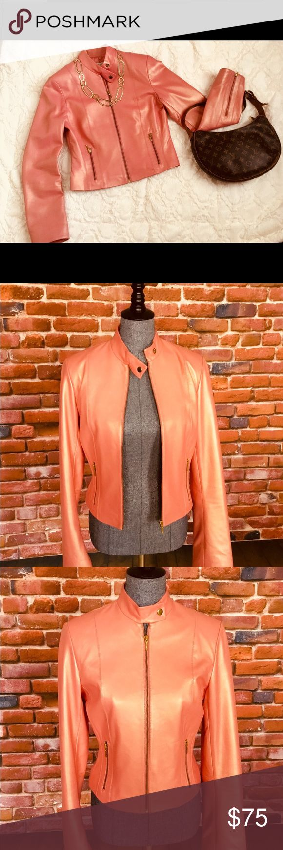 Cache Genuine Leather Pearlized Peach Jacket sz 6 Like New! Beautiful 100% leather jacket. Unique pearlized peach color is truly eye catching, and can be worn with jeans or matching leather skirt (also for sale).  Product details: *Zip Front *2-pockets with gold zipper detail *Long sleeves with gold zipper detail at cuffs *Snap tab collar *Lined *Mid-weight *Approx. 22 inches length  Fit and sizing: True women's size 6.  Fabric and Care: Professional Leather Clean Cache Jackets & Coats…
