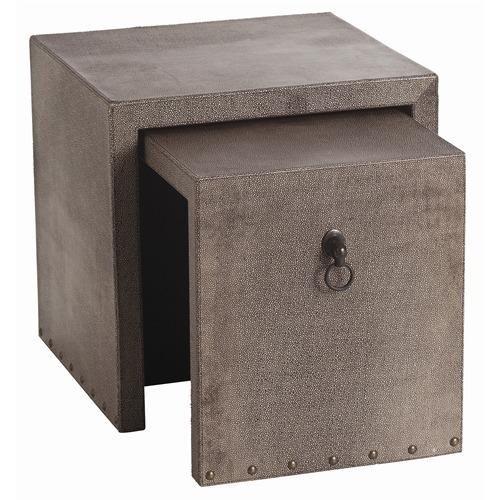 Arteriors Equus Leather/Bronze Nesting End Tables
