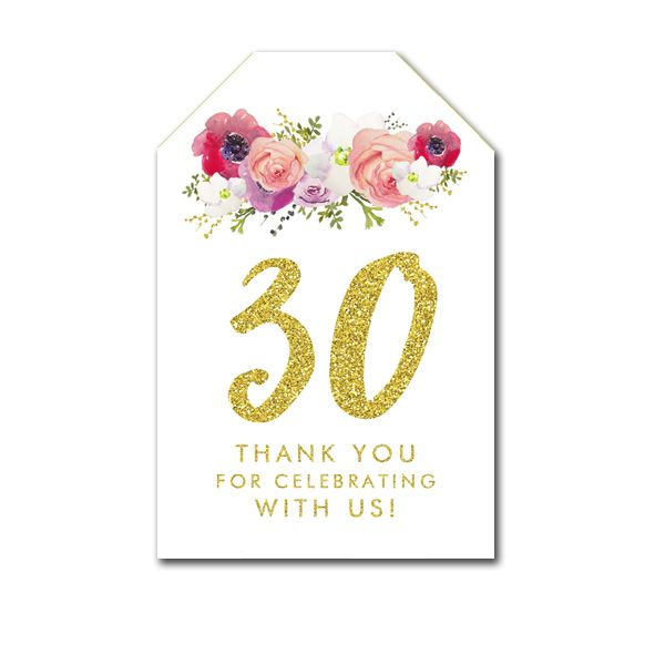 Thank You Tags - 30th Birthday Gold Glitter Flowers - Favor Tags Birthday - Instant Download Printable