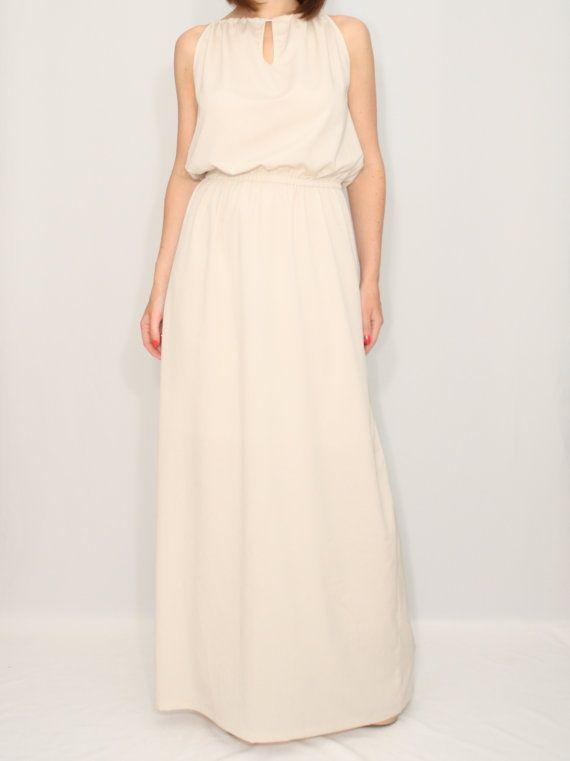 Long beige dress Bridesmaid dress Chiffon maxi dress by dresslike