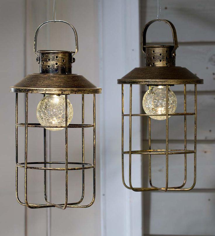 Solar Antique Lanterns, Set Of 2 | Solar Lighting