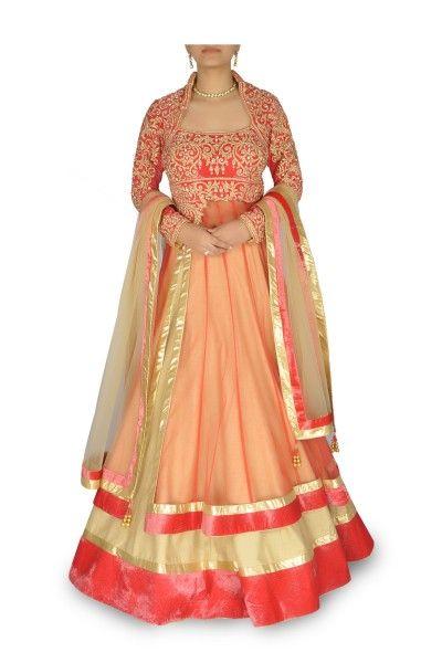 Designer Orange Peach Layered & Embellished Lehenga