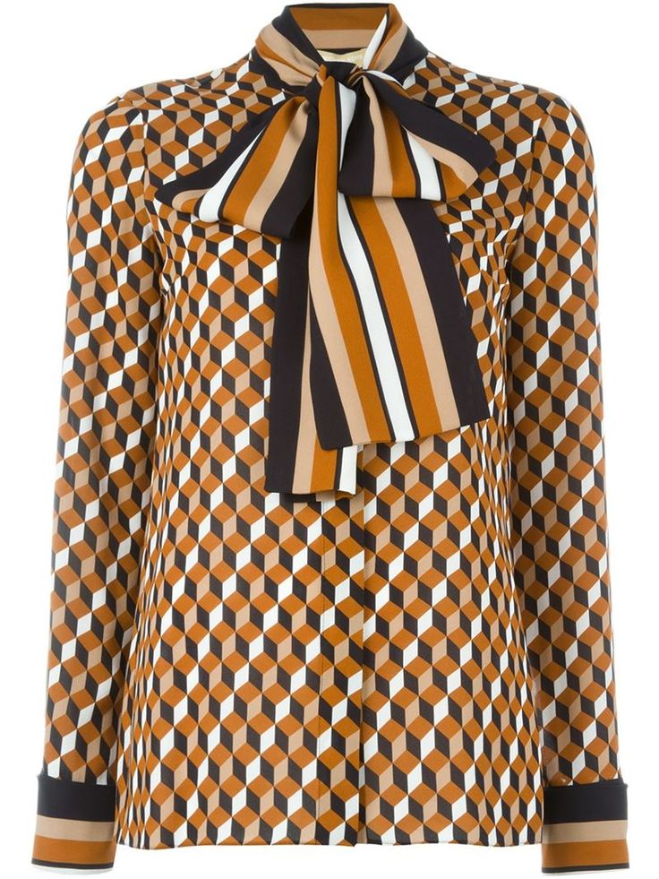 Michael kors Printed Pussy Bow Shirt in Brown - Save 61% | Lyst