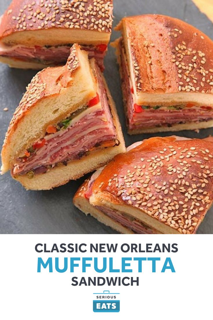 The classic New Orleans sandwich combines a homemade olive salad with layers of thin-sliced Italian cold cuts. The secret is to let it rest before eating so the olive juices get absorbed into the bread.