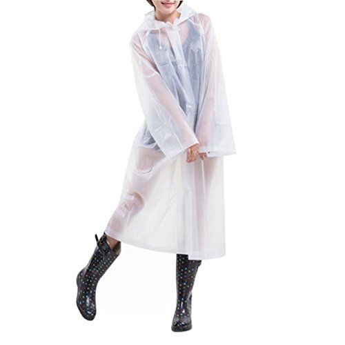 New Trending Outerwear: C.A.Z Portable Reusable Raincoat Rain Poncho with Hoods Sleeves for Adutls White. C.A.Z Portable Reusable Raincoat Rain Poncho with Hoods Sleeves for Adutls White  Special Offer: $4.79  199 Reviews Made of eco-friendly EVA material.Some cheap raincoats are made of PVC material, which cheaper than EVA. EVA is more strechy,better tear resistant ability. If you burn...